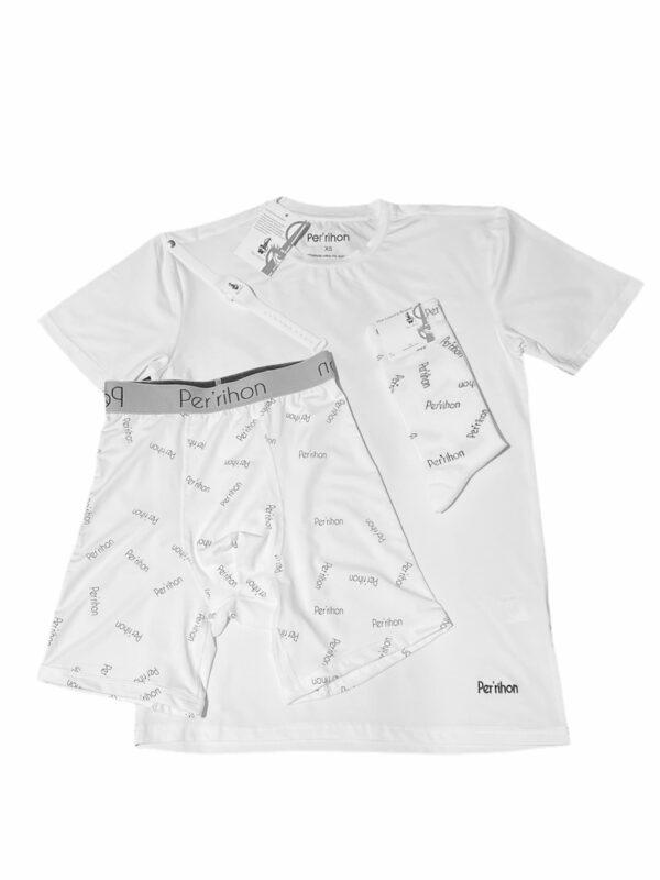 Per'rihon 100% Modal Cotton Tee Shirt, Boxer Briefs, Socks & Sanitizer Wristband